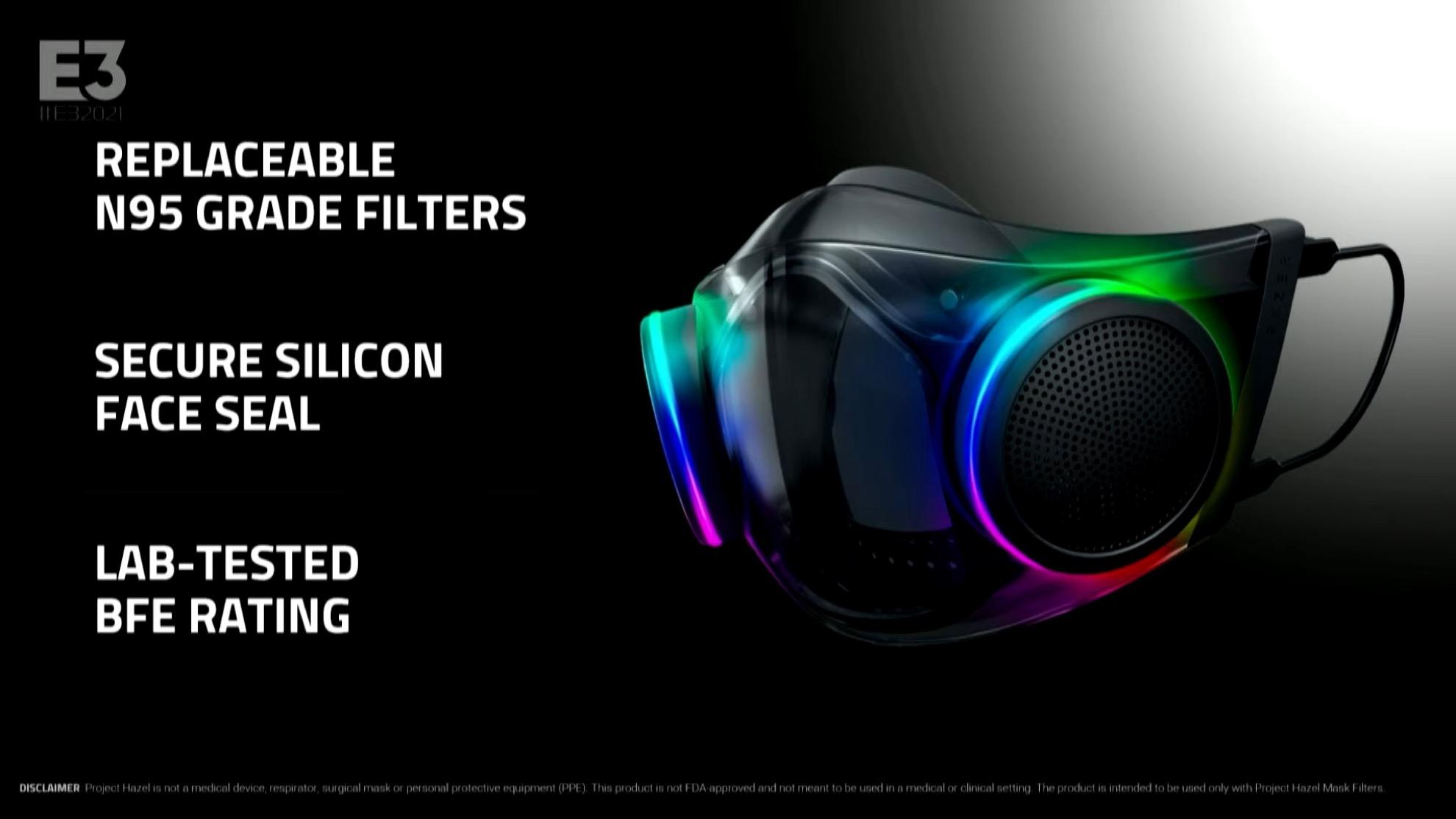 E3 2021:雷蛇N95炫彩RGB口罩宣布量产 秋季开卖