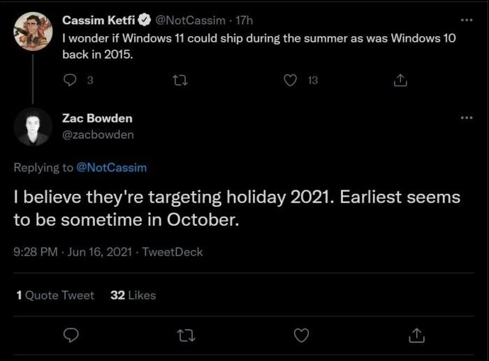 Windows11稳定版何时发布 消息称最快今年10月