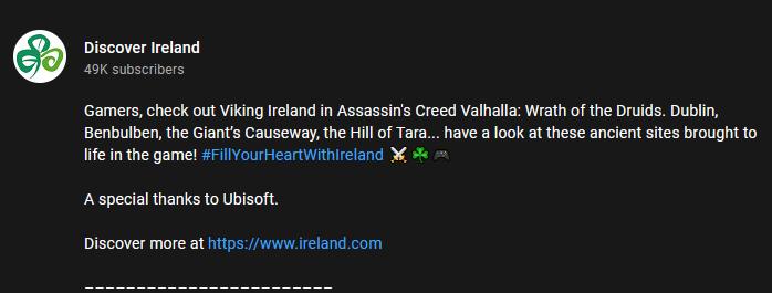 爱尔兰使用《刺客信条:英灵殿》刺激本国旅游业