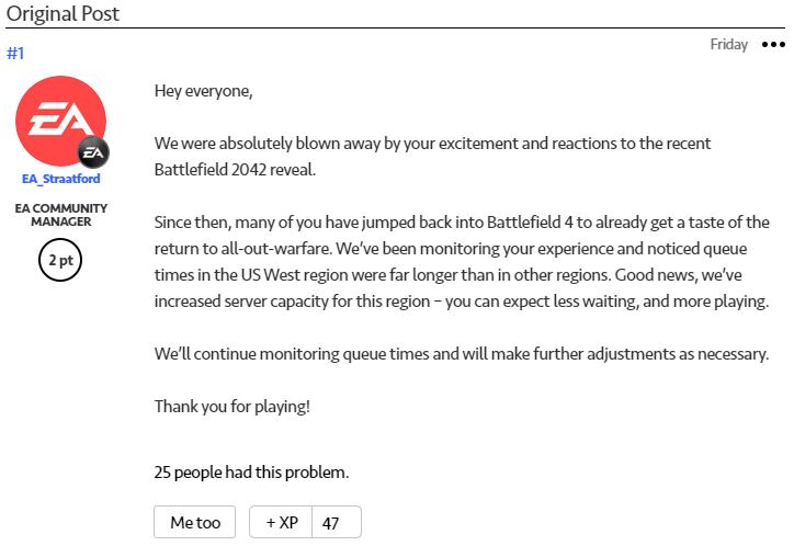 《战地2042》发布引发旧作热潮 官方增加服务器容量