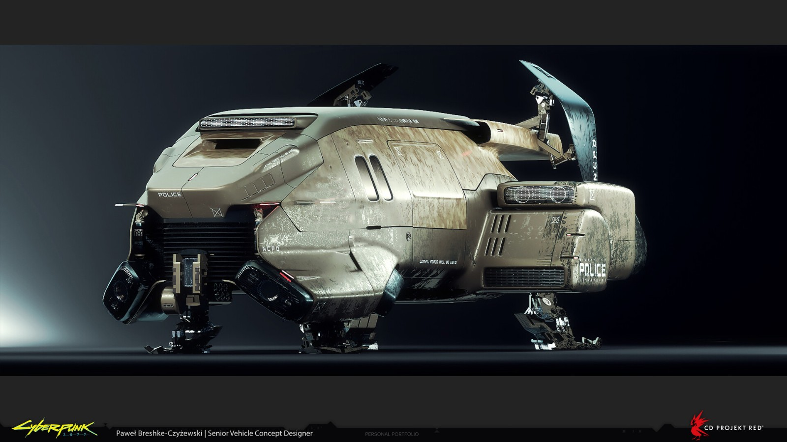 《赛博朋克2077》新概念图 展示未曾出现的军用飞行器