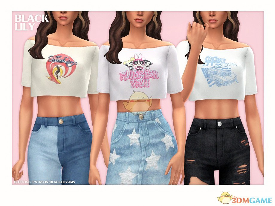 《模拟人生4》露肩的短款t恤MOD