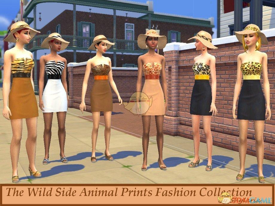 《模拟人生4》时尚动物印花连衣裙MOD