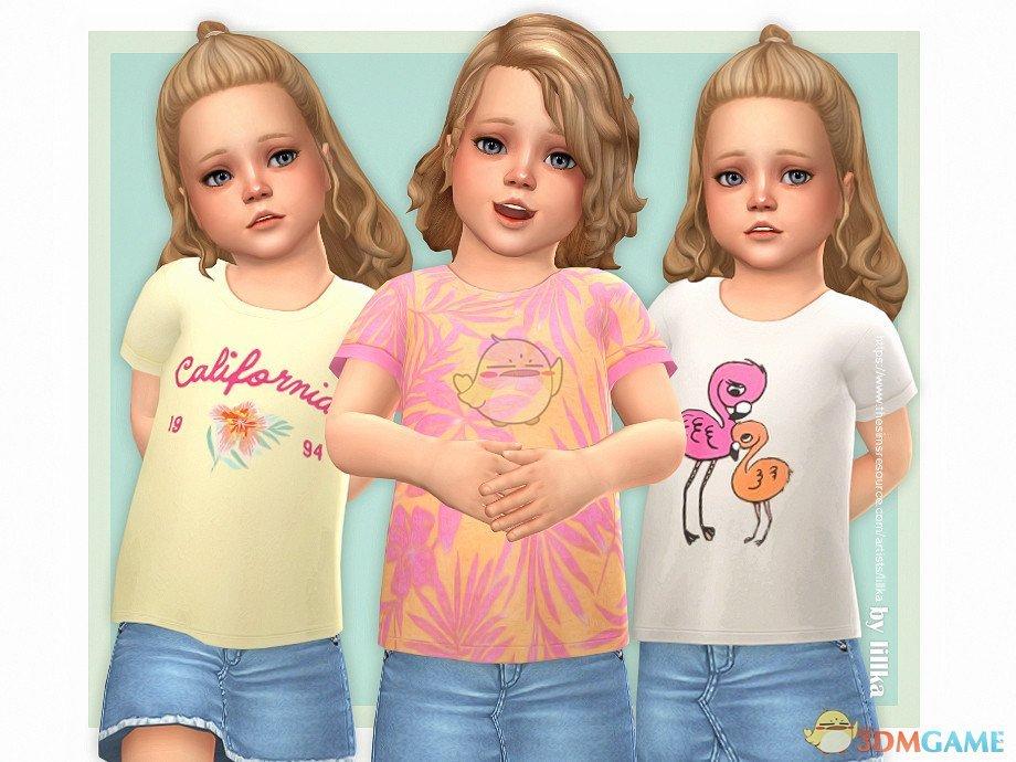《模拟人生4》小女孩休闲彩色t恤MOD
