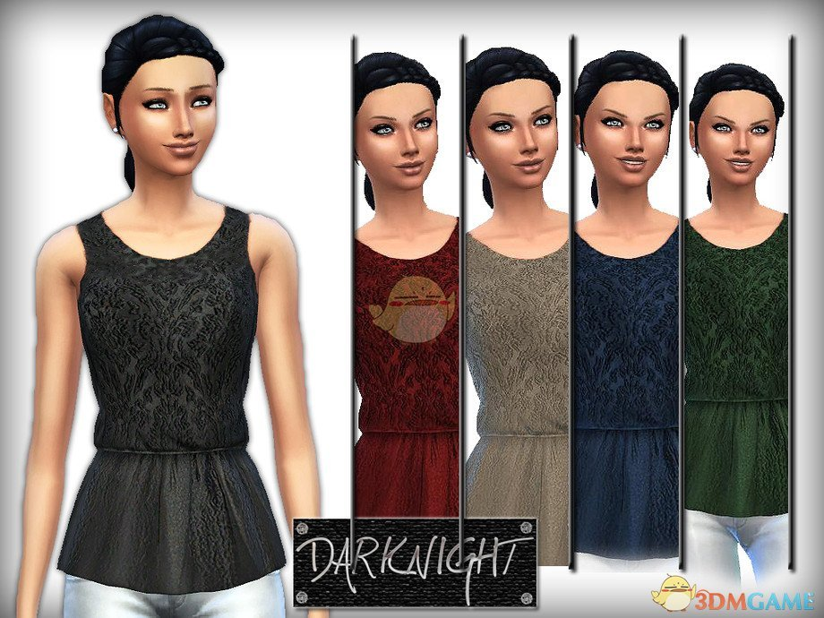 《模拟人生4》女性刺绣荷叶边上衣MOD