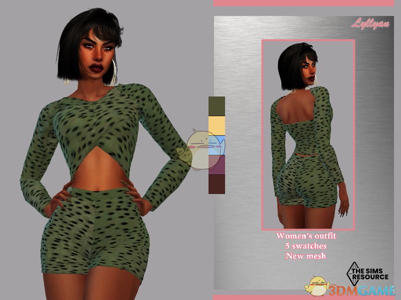 《模拟人生4》女性点状露背露腹连衣裙MOD