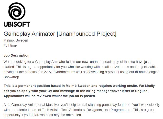 开发两款3A仍有余力 育碧Massive为新项目招募动画师