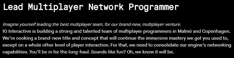 招聘信息透露《杀手》开发商IO Interactive新项目或为MMO