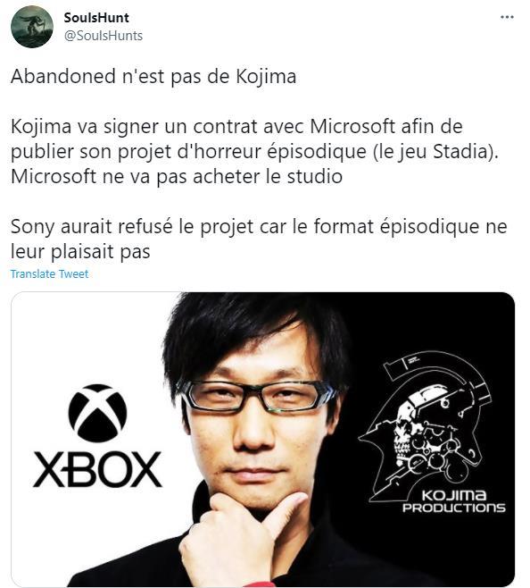 业内人士透露:小岛秀夫恐怖新作将由微软发布
