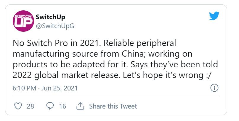 中国配件厂商:Switch Pro将在2022年发售