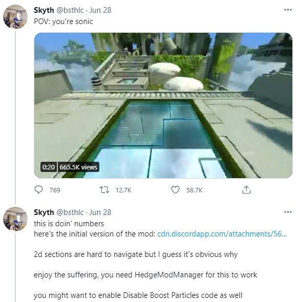 催吐小帮手?玩家自制《索尼克:世代》第一人称Mod
