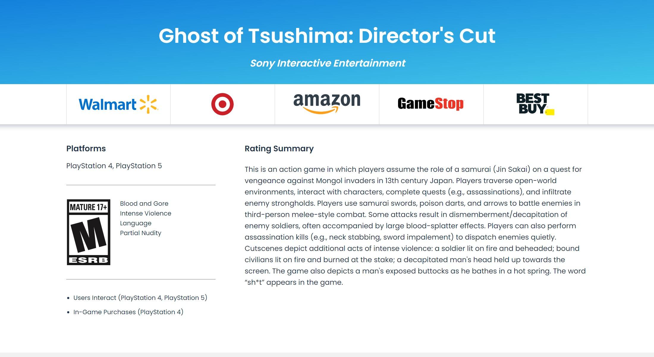 《对马岛之鬼:导演剪辑版》曝光 登陆PS4和PS5