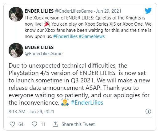 《终结的百合花》XS/XB1版已推出 PS4版推迟至Q3
