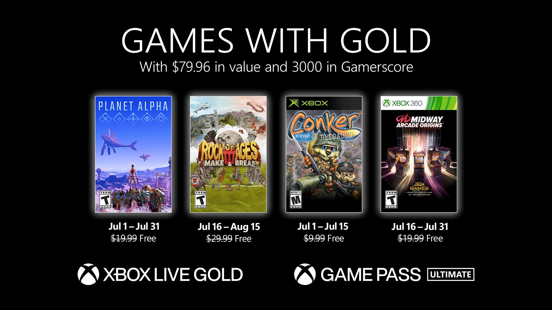 微软Xbox Live金会员2021年7月会免游戏公布