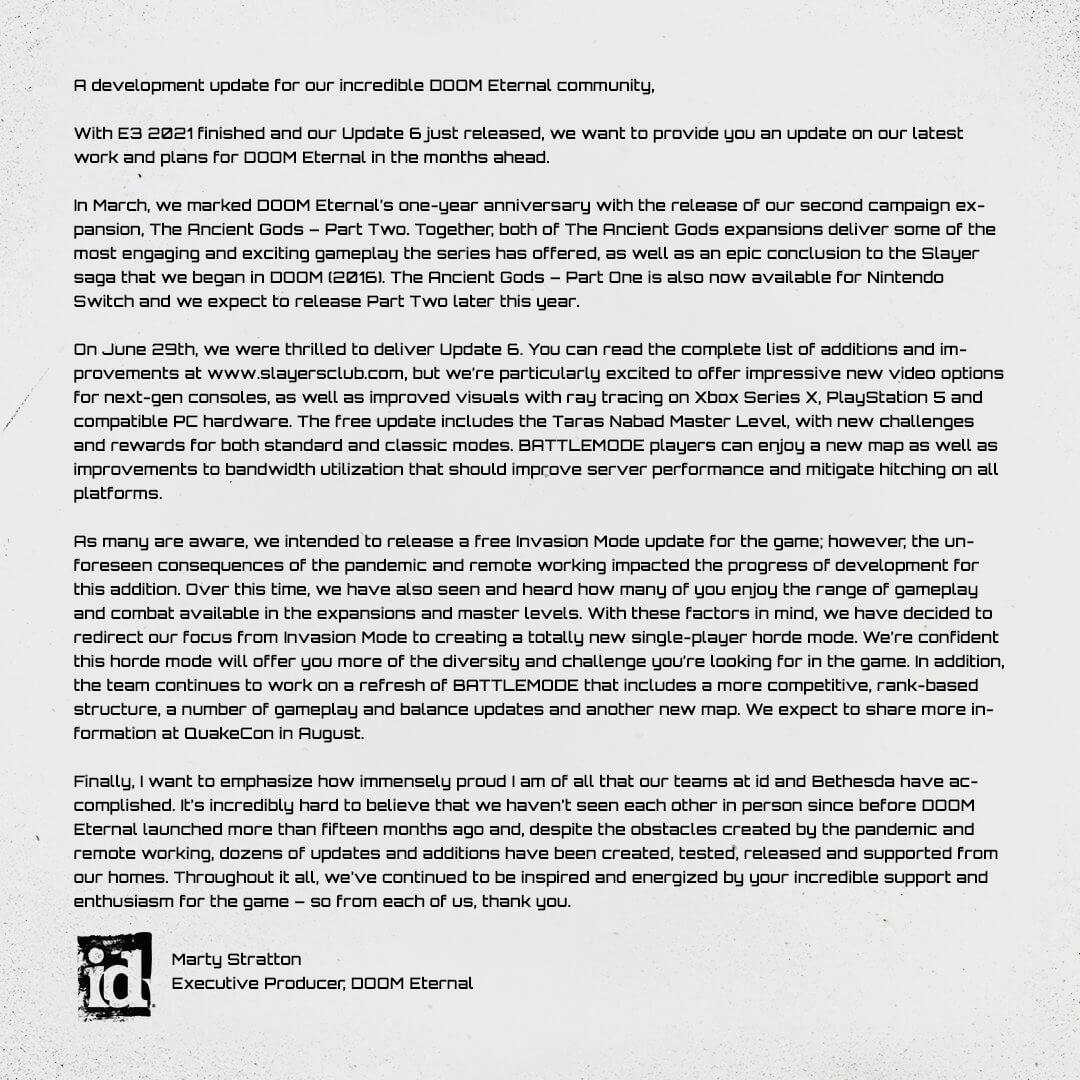 id software正为《毁灭战士:永恒》加入单人无限模式