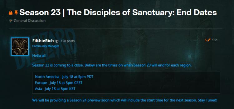 《暗黑3》第23赛季将于7月18日下午5点结束
