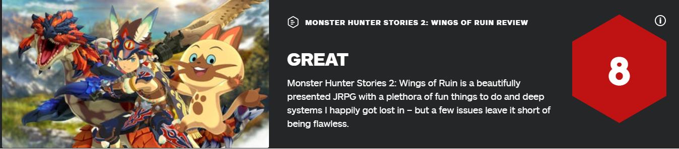 《怪物猎人物语2:扑灭之翼》M站均分81 IGN 8分
