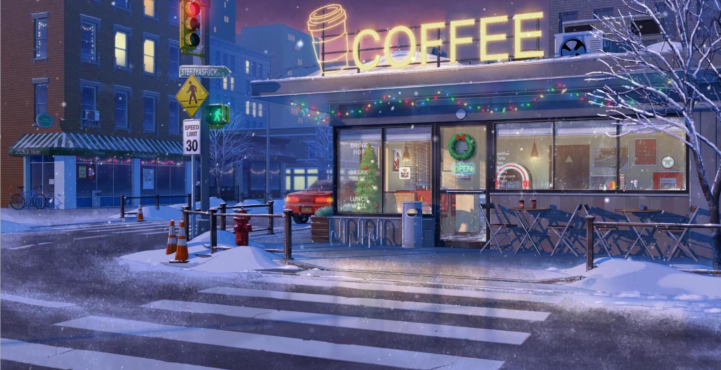 《Wallpaper Engine》雪天咖啡店精美场景动态壁纸