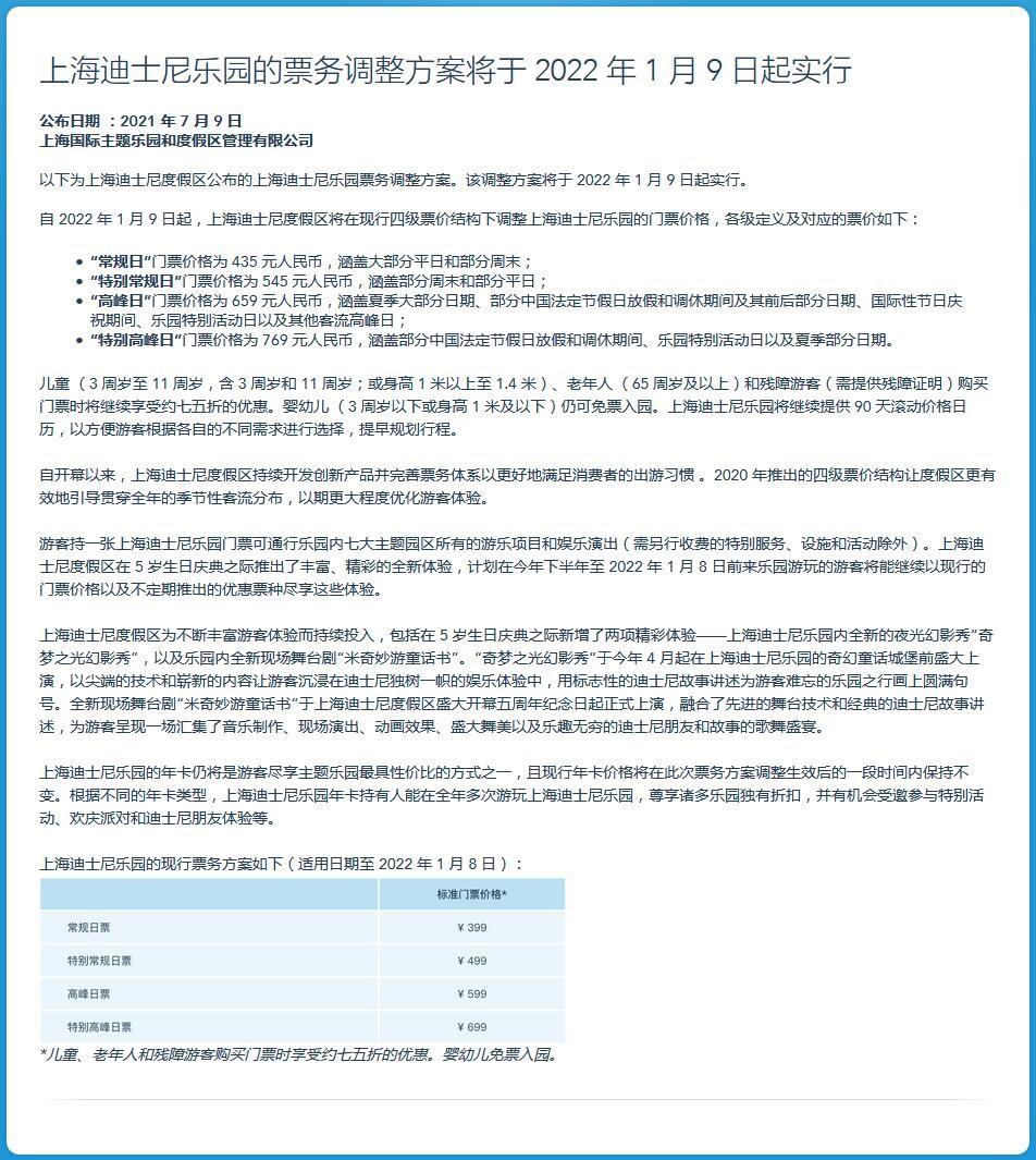 上海迪士尼乐园明年1月上调票价:最高涨至769元
