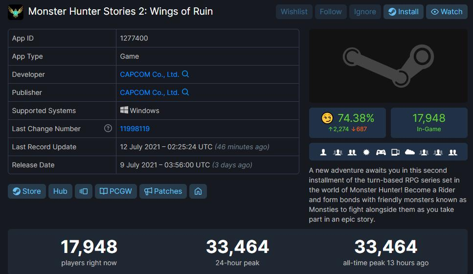 《怪物猎人物语2》已正式发售 破单人JRPG在线人数纪录
