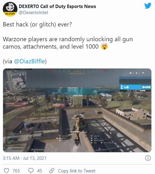 黑客做好事?《战区》主播的账号被升到1000级解锁全武器及迷彩