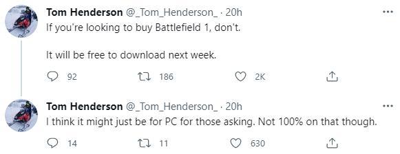 "Tom Henderson透露《战地1》将免费 战地老兵评论区""哀嚎"""
