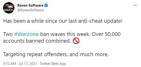 Raven发布《使命召唤:战区》反作弊战果封禁5万账号 粉丝不买账