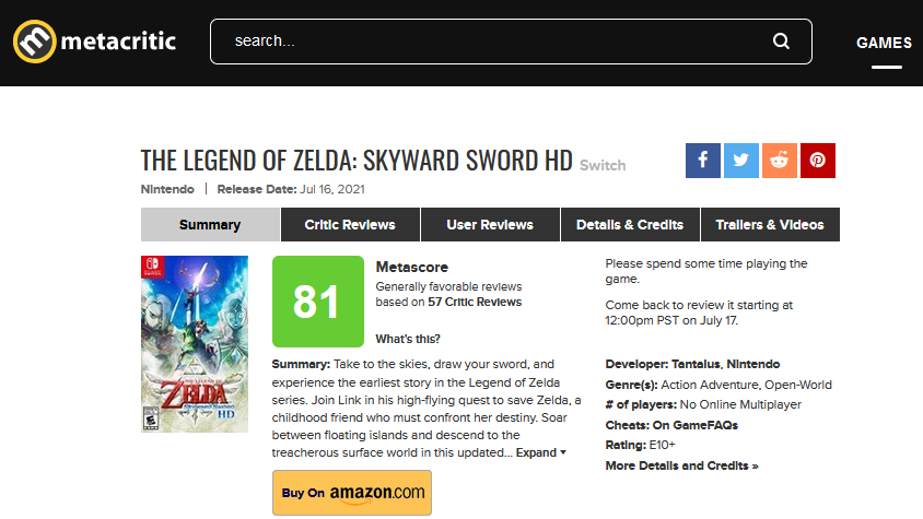 IGN《塞尔达:御天之剑HD》8分:像陈年好酒,即使体感控制依然不好