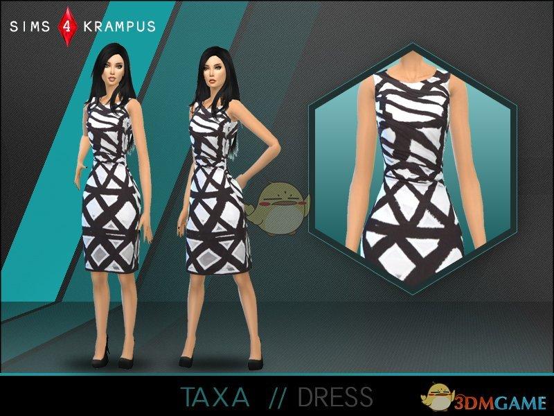 《模拟人生4》女性黑白网格连衣裙MOD
