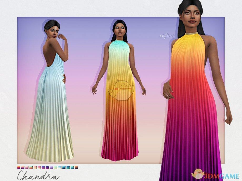 《模拟人生4》美丽渐变色褶皱长裙MOD