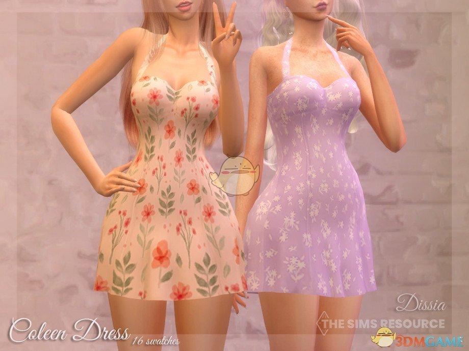 《模拟人生4》美丽花纹无袖连衣裙MOD