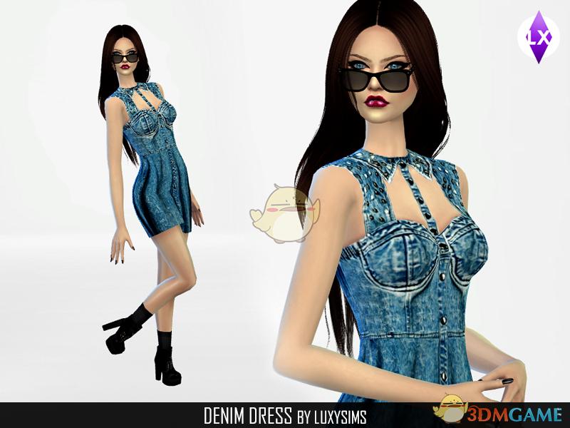 《模拟人生4》牛仔时尚连衣裙MOD