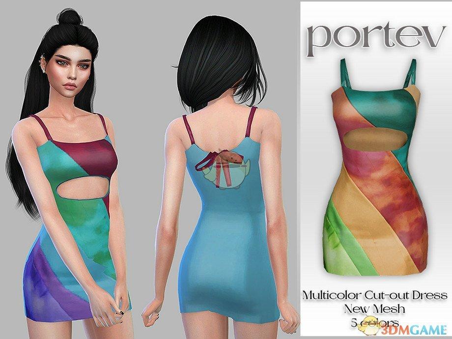 《模拟人生4》彩色条纹空洞连衣裙MOD