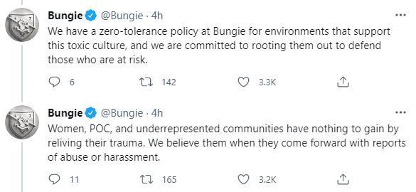 动视暴雪职场性骚扰丑闻后 Bungie发推呼吁整顿行业风气