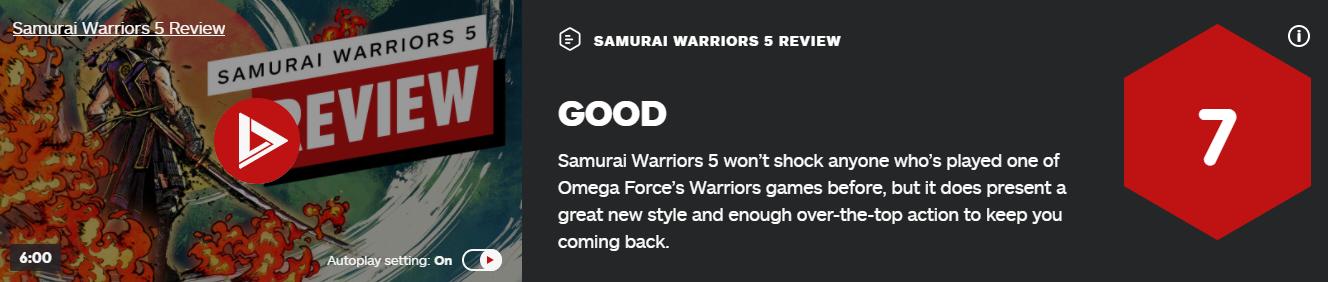 《战国无双5》IGN评7分:呈现全新风格吸引玩家