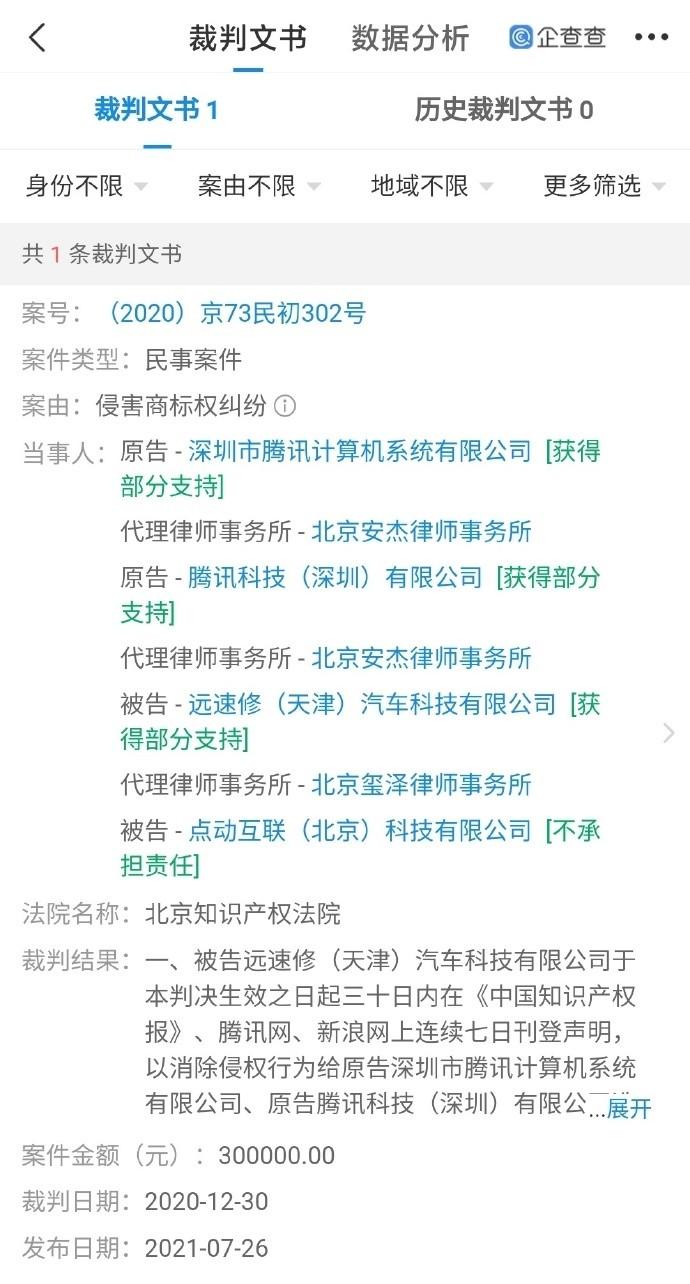 """腾讯起诉""""腾迅""""不正当竞争:获赔30万"""