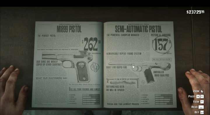 玩家在二手书店淘到《荒野大镖客2》枪支目录书