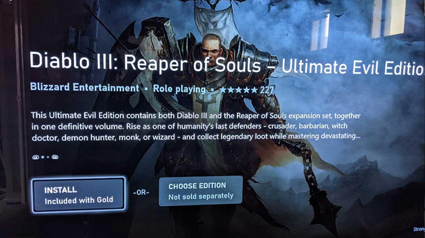 《暗黑破坏神3:夺魂之镰 终极邪恶版》或成Xbox会免游戏