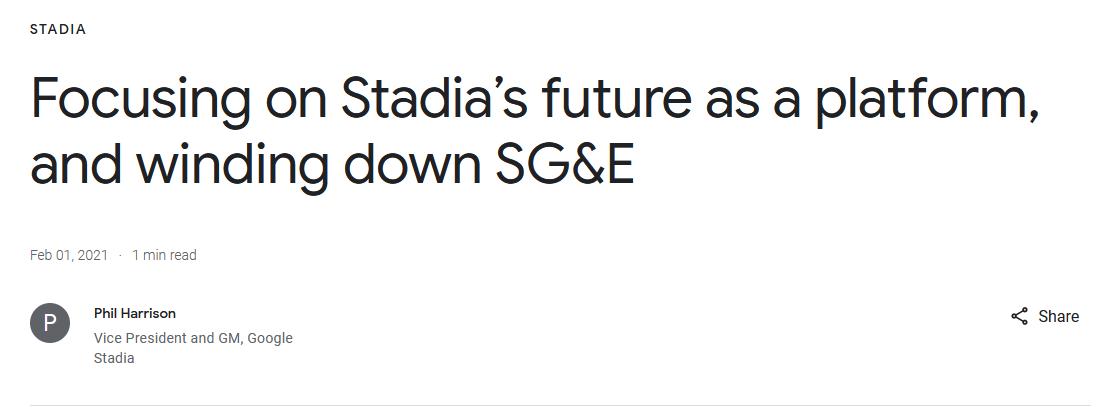 """谷歌可能开始将其Stadia平台授权给""""行业合作伙伴"""""""