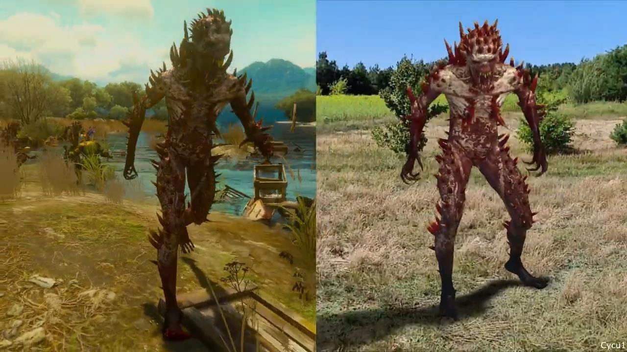 《巫师3》与《巫师:怪物杀手》怪物对比视频 同步真是时间及天气系统