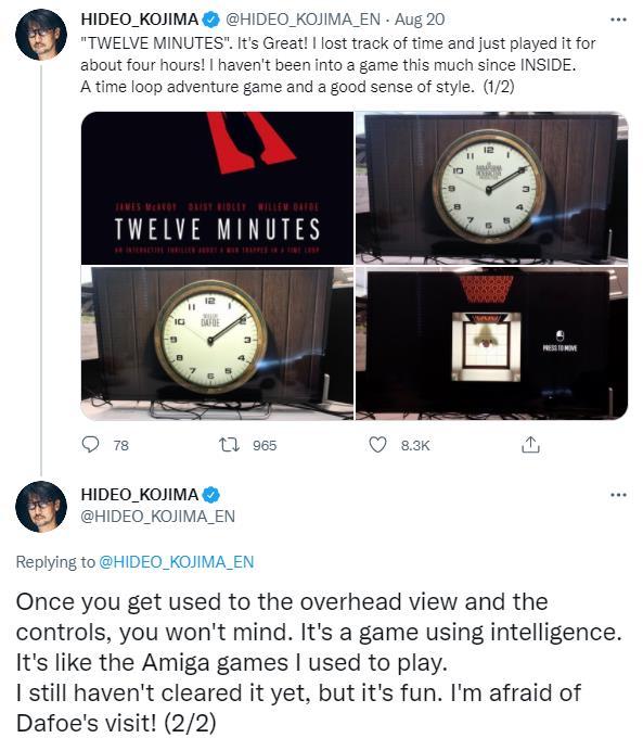 小岛秀夫评价《12分钟》:让我有点想做一款冒险游戏