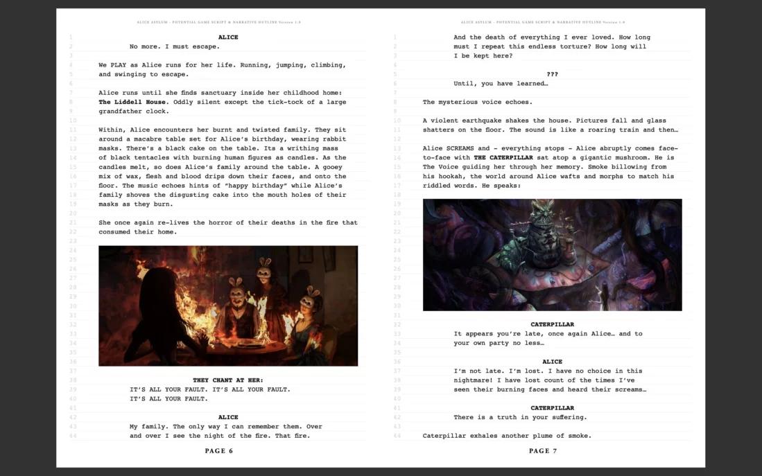 游戏设计师McGee发布《爱丽丝:庇护》剧本 收集粉丝意见