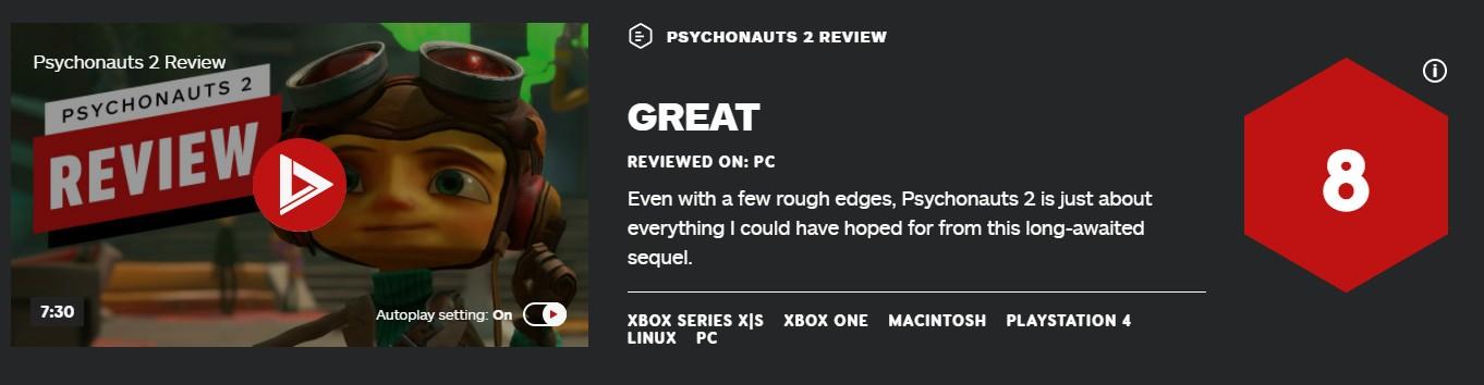 《脑航员2》首批媒体评分出炉 IGN 8分 GameSpot 9分