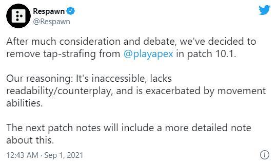 重生:《Apex英雄》10.1更新移除高级操作Tap-Strafing