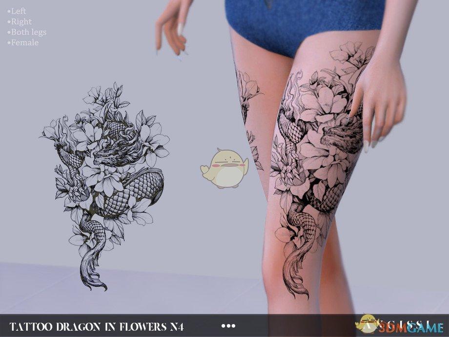 《模拟人生4》龙与花纹身MOD