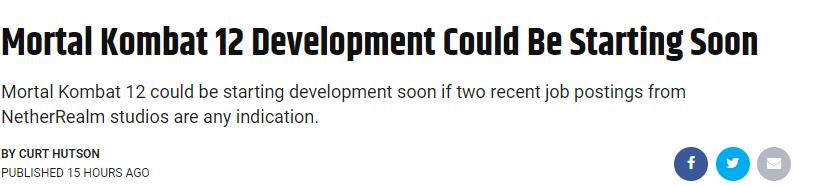 开发商招募格斗游戏经验开发者 《真人快打12》或将启动
