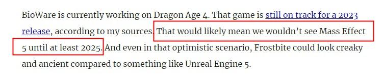 传《质量效应5》将于2023年开始全面制作 2025年公布