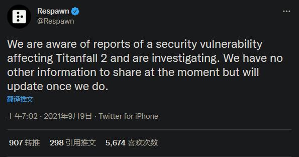 重生回应《泰坦陨落2》安全隐患传闻 系用户名超出上限所致