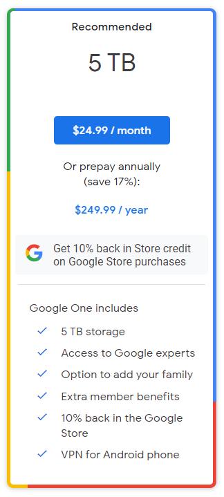 Google One网盘新增5TB:每年1610元