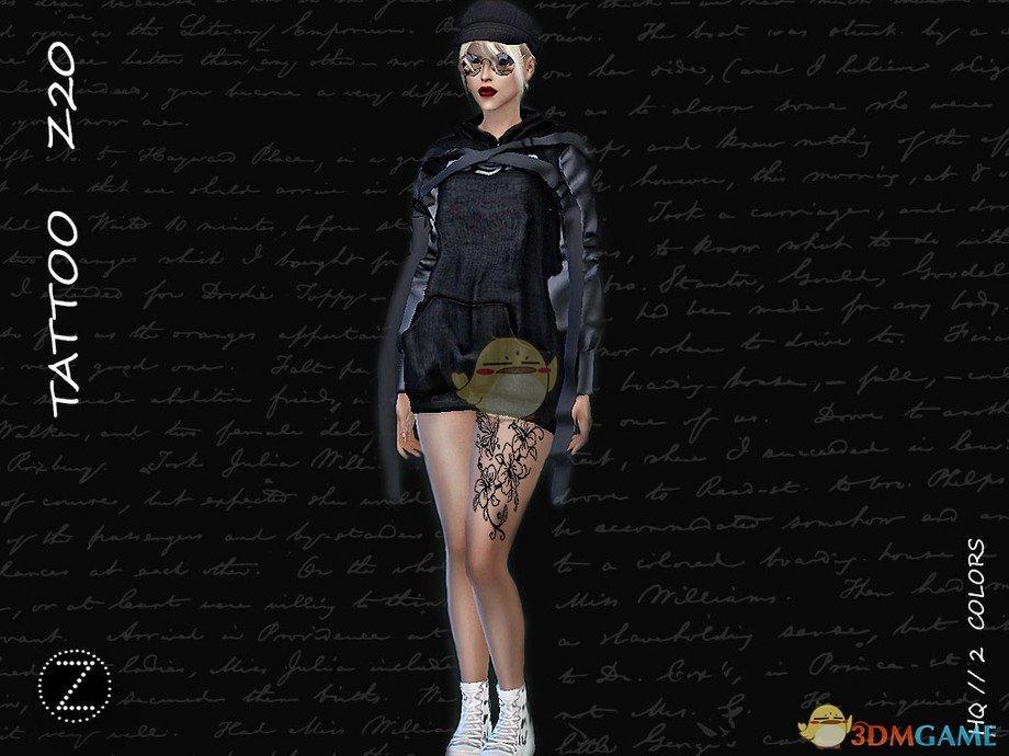 《模拟人生4》黑色印花腿部纹身MOD